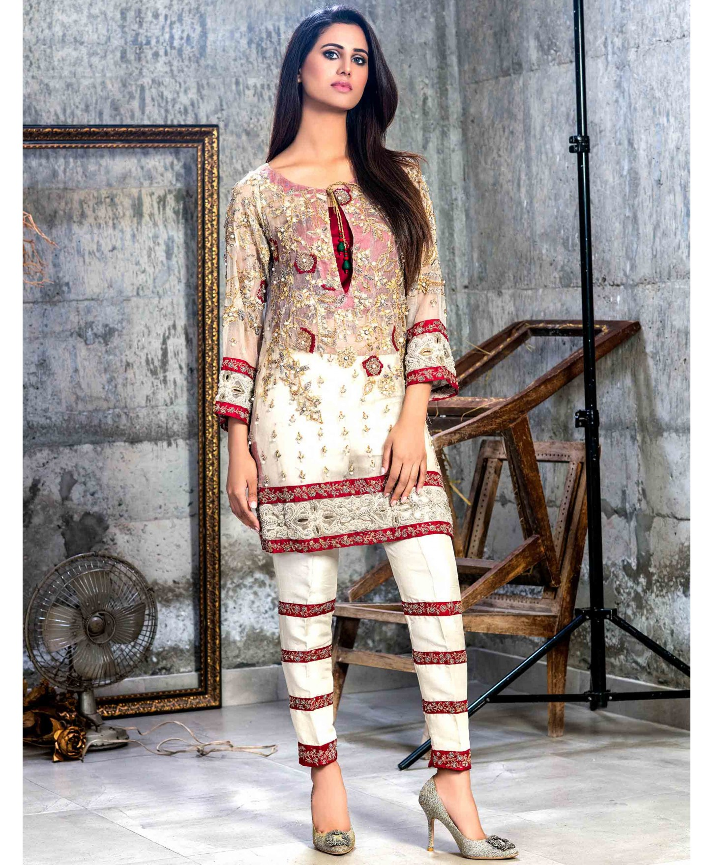 682070b810bf Buy this beautiful red and ivory Pakistani chiffon suit by Crates by Pasho
