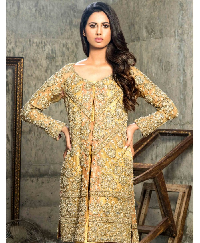 97ed06216862 Embellished and stylish gold Pakistani dress online by Cartes by Pasho
