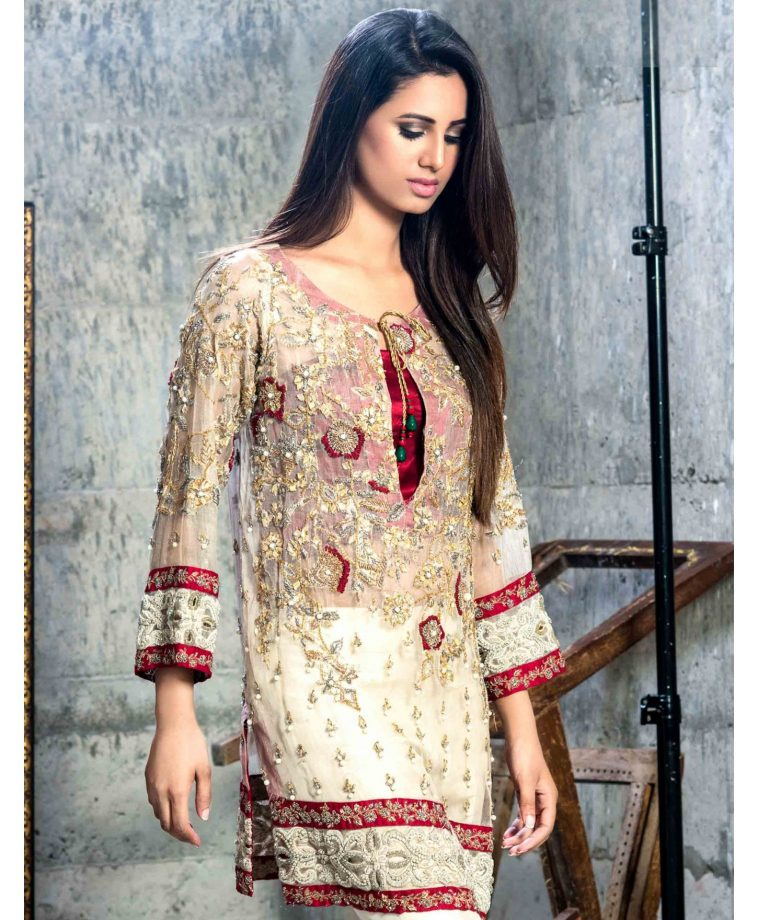 ee4a9663cf40 Ivory and red embellished Pakistani chiffon suit by Cartes by Pasho ...