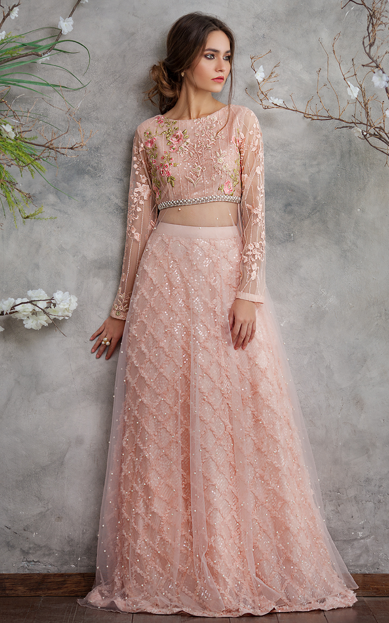 412b92db00 Pakistani Wedding Dresses by Threads & Motifs Features this Elegant Net  Embroidered Blouse with Lehenga Skirt